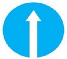 Biển báo hiệu hình tròn có nền xanh lam